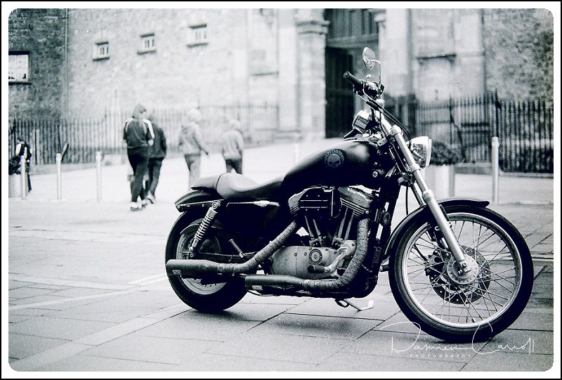 Harley Davidson photographed on the street in Kilkenny Castle