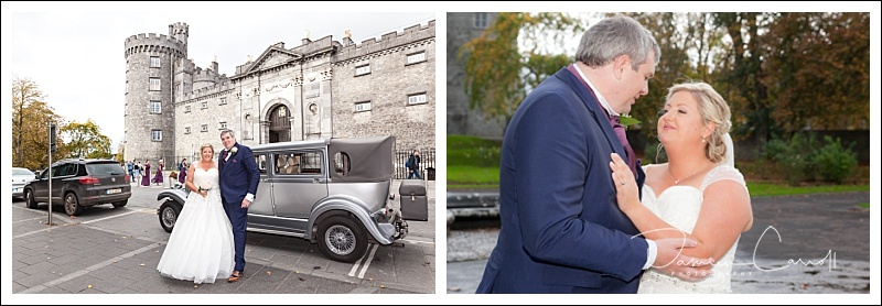 Photo of Wedding couple outside Kilkenny Castle